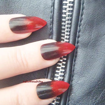 gothic stiletto fake nails red black pointy nails drag queen false nail punk rock almond gothic wedding pointy fashion mani lasoffittadiste