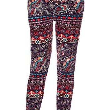 KMystic Womens Printed Brushed Leggings Regular and Plus Sizes