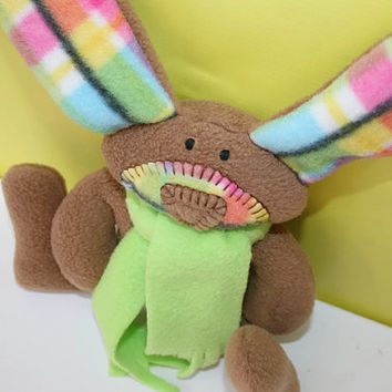 Spring is Coming  - Easter Plaid Bunny baby toy tartan ofg canteam handmade waldorf washable stuffed rabbit