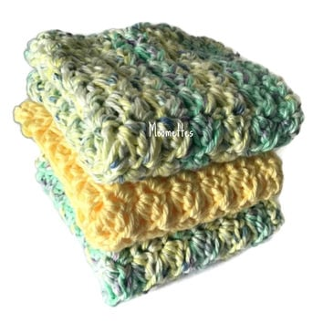 Handmade Kitchen Dishcloths Buttercup Yellow Purple Green Pastel Dish Cloths Cotton Wash Cloths Crochet Set of 3