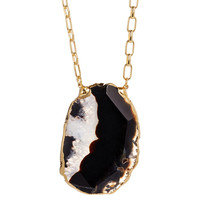 Black Agate Chunk Delisa Necklace, Pendant Necklaces