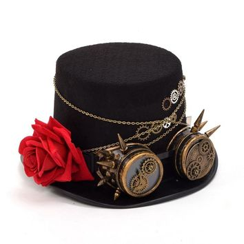 Fedora Unisex Women Men Steampunk Gears Floral Black Top Hat with Glasses Decoration Vintage Headwear