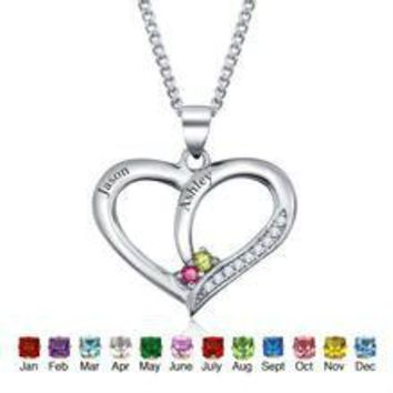 DIY Personalized Engraved Birthstone Heart Sterling  Silver Necklace