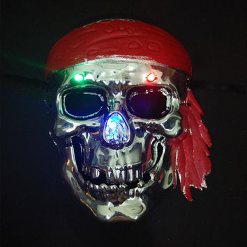 Scary Flashing Pirates Mask Light Up Pirate Skull Masks Stage Performance Props Halloween Supplies Halloween Christmas