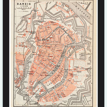 vintage Map City Plan of Gdansk, Poland 1880 Vintage