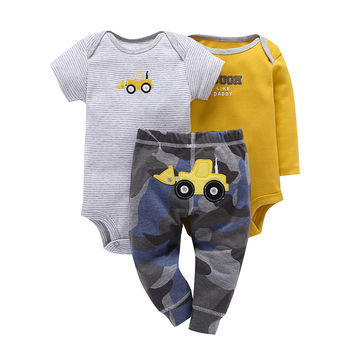 Children brand Body Suits 3PCS Infant Body Cute Cotton Fleece Clothing Baby Boy Girl Bodysuits 2017 New Arrival