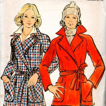 70s Butterick 3914 Sewing Pattern Retro Style Wrap Coat Notched Collar Double Breasted Jacket Raglan Sleeves Uncut FF Bust 38