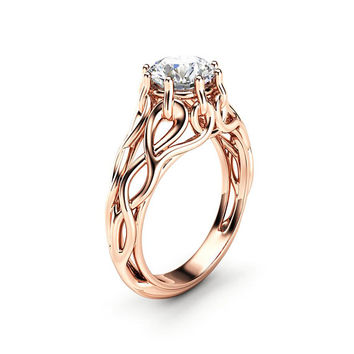 Celtic Engagement Ring 14K Rose Gold Braided Ring Solitaire Moissanite Engagement Ring Anniversary Gift