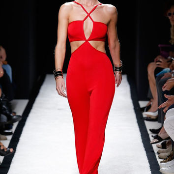 Red Deep V-Neck Halter Cut-Out Jumpsuit
