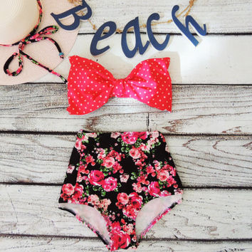 High Waisted Bow Bikini pink black floral roses & Red Polka Dot Spot Bandeau Cute Sexy Swimwear Retro Pin up Swimming floral Bathing suit
