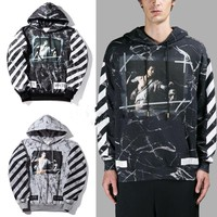 HCXX Off White Hoodie C/O Virgil Abloh Religion Marble Galaxy Hoodie Pullover Sweater