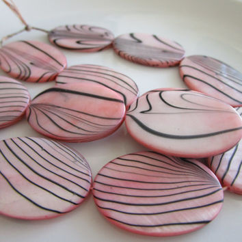 13 Light Pink - Black - Zebra Shell Flat Beads - 3mmx20mmx30mm - jewelry bead supplies - zebra shell bead - oval zebra shell beads - pink