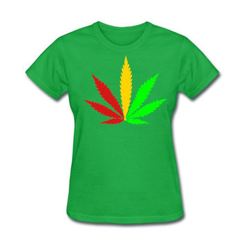 Women Crew-Neck Short Sleeves tees Colorful weed  rasta Natural Cotton custom shirts Woman New Design Summer cool looking tops