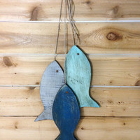 "Rustic wooden fish - Painted String of Fish Wall decor reclaimed wood - 11"" wood fish wall art for beach house decor or lake house decor"