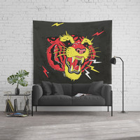 Red Tiger Tattoo Wall Tapestry by Lostanaw