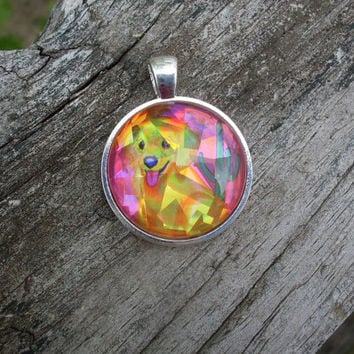 Lisa Frank GOLDEN RETRIEVER PUPPY Hologram Shiny Dog Vintage Sticker Circle Pendant Charm Necklace
