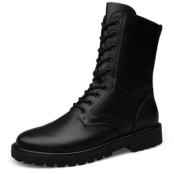 Lace Up Military Desert Mid Calf Leather Boots