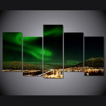 Norway Northern Lights landscape canvas room decoration print poster picture