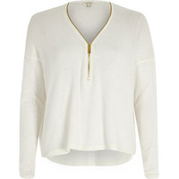 River Island Womens White knitted zip front top