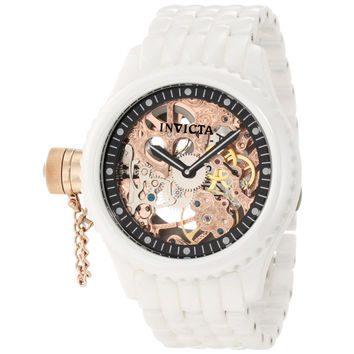 Invicta 1925 Men's Russian Diver Lefty Rose Gold Skeleton Dial White Ceramic Mechanical Watch