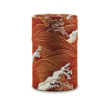 Rishi: Japanese Washi Tea Tin: Red Wave Pattern