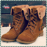 Cambridge Tan Fur Cuff Lace Up Boots
