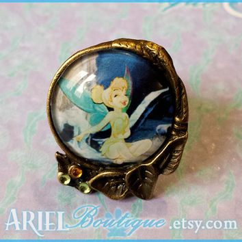 Pukish Pixie- Adjustable ring of Peter Pan's Tinkerbell.