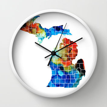 Michigan State Map - Counties by Sharon Cummings Wall Clock by Sharon Cummings