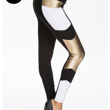 BLOCKED LEGGING - Black and Gold Color Block Leggings from RIVER ISLAND