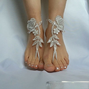 ivory silver frame barefeet  beach wedding  country wedding sandals shoes  bridesmaid  sexy free ship anklet barefoot  Bellydance  Steampunk