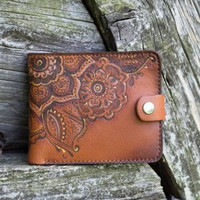 Leather Wallet Woman Floral Print Brown Accesories 3rd Anniversary Gift For Wife Handmade Purse Rustic Casual Mother's Day Gifts For Moms