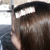 Baby pink and white Glitter Capsule hair clip