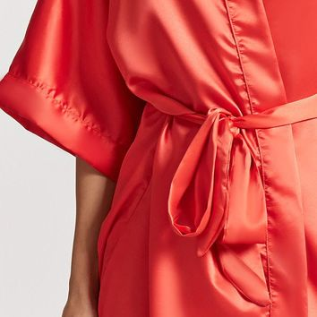 Open-Front Satin Robe