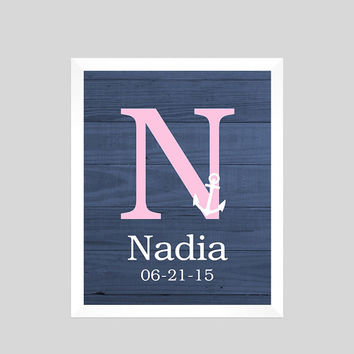 Monogram First Initial, Nautical Navy Pink, Birth Stats CUSTOMIZE YOUR COLORS 8x10 Prints, nursery decor nursery print art baby room decor