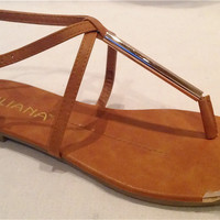 SEXY GOLD TIP TOE CAMEL METALLIC T STRAP GODDESS FLAT GLADIATOR SANDALS 2013