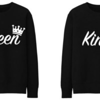 Unisex Men Women#034; KING QUEEN CROWN ROYALTY #034;FUNNY Sweatshirt Jumper Sweater - BLACK
