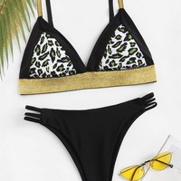Leopard Triangle Top With Ladder Cut-out Bikini
