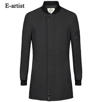 Men's Single Breasted Casual Long Trench Coats Male Slim Fit Jackets Windbreaker Outwear Overcoat