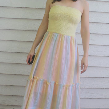 Summer Dress Strapless Sundress Yellow Stripes 70s XS Vicky Vaughn
