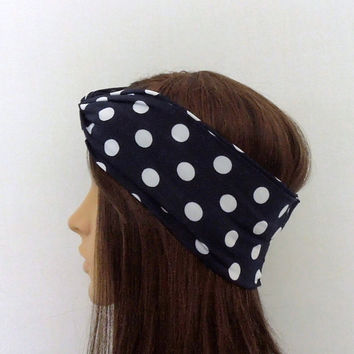 Blue Polka Dot Turban