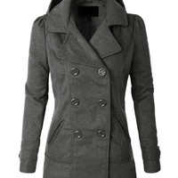 Classic Wool Double Breasted Pea Coat Jacket With Hoodie