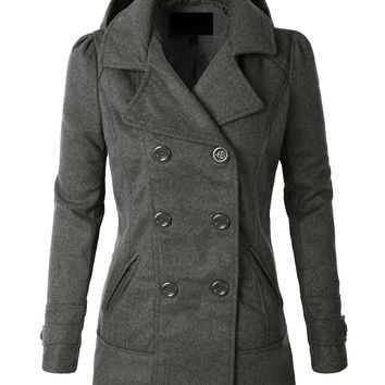 LE3NO Womens  Classic Wool Double Breasted Pea Coat Jacket With Hoodie