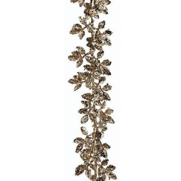 "Champagne Gold Fake Mini Sequin Leaf Holiday Garland - 60"" Long"