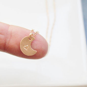 Tiny Moon Necklace . Rose Gold or Gold I love you to the moon necklace . Dainty Initial Necklace. Personalized Necklace, Layering Necklace