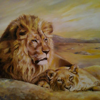 Fine art oil painting - MADE TO ORDER - Wedding gift Couple of Lions - oil painting on canvas - Hand Painted Home Decor