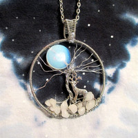 Wire Wrapped Moonstone Reindeer Pendant / Necklace