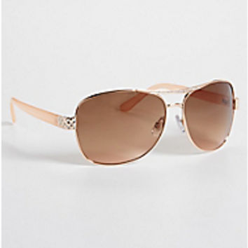 mirrored aviator sunglasses in rose goldtone | maurices