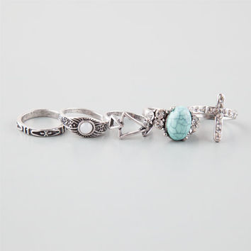 Full Tilt 5 Piece Cross/Turquoise/Triangle/Stone Rings Silver  In Sizes