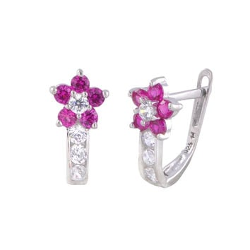 Sterling Silver Leverback Earrings Flower CZ Birthstone Colors - 2 Color Design