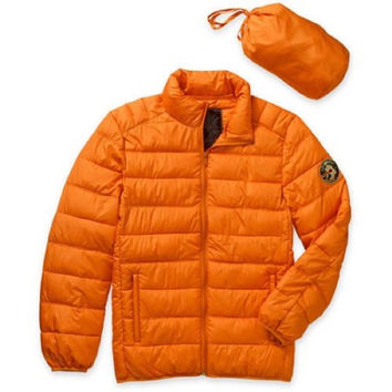 Men's Packable Faux Down Jacket,Orange, Small